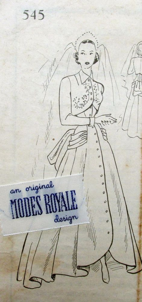 Vintage Modes Royale Strapless Wedding Gown Bolero Sz 12 Sewing Pattern w Label