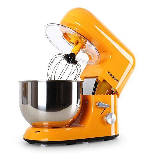 Klarstein Bella Orangina TK2 robot de cuisine multifonction avec bol en inox de 5L (accessoires fouet, pétrin, crochet, 6 vitesses, 1200W)…