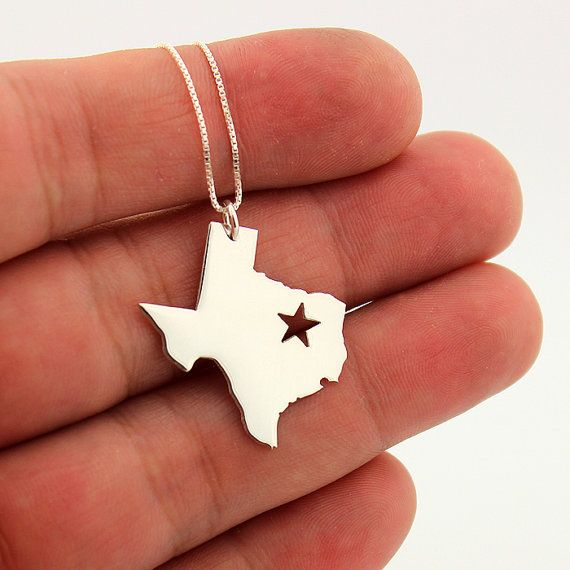 State necklace Texas necklace sterling silver Texas state necklace with Star  comes with Box chain on Etsy, $36.00