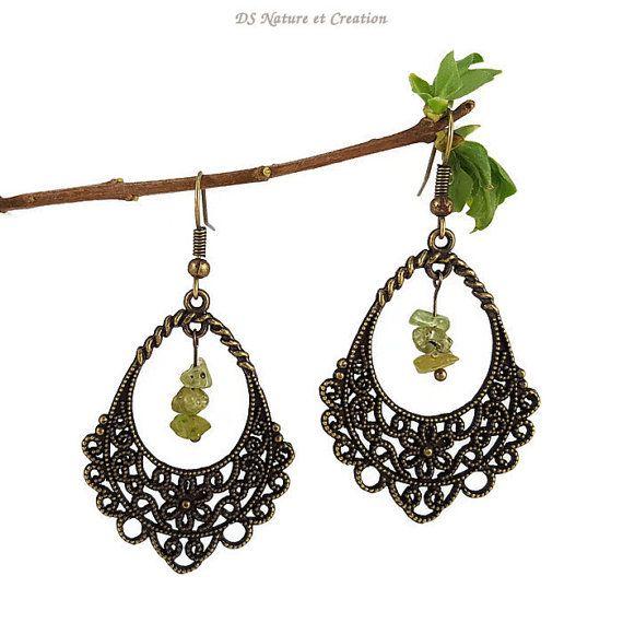 Teardrop earrings peridot jewelry bronze by DSNatureetCreation https://www.etsy.com/listing/289558535/teardrop-earrings-peridot-jewelry-bronze