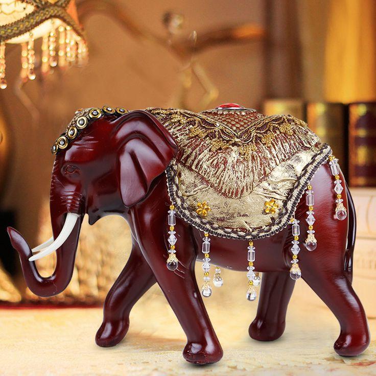 Resina Artesanato Artigos de decoração Decoração de Casa Sorte Elefante Forma Elefante Enfeites de Resina Figuras Miniaturas em   de   no AliExpress.com | Alibaba Group