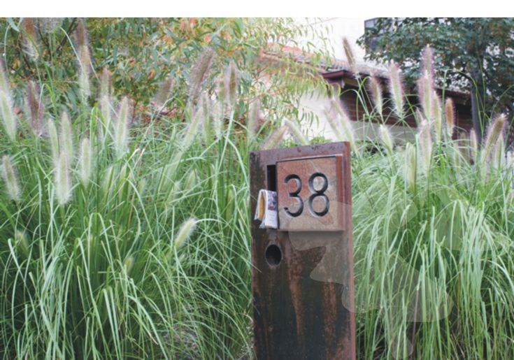 Custom-made letterbox surrounded by grasses