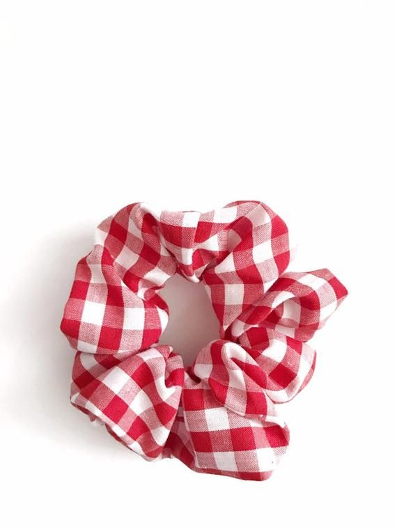 Red /& White Check Bow Scrunchie