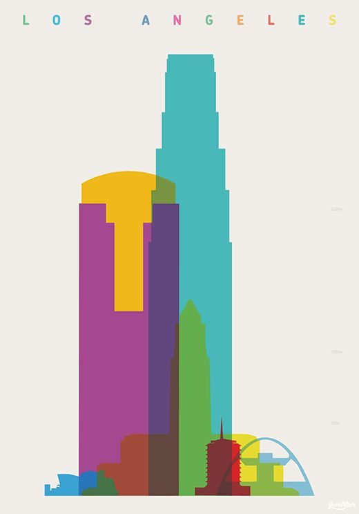 """Los Angeles - """"Shapes of cities"""", by Yoni Alter."""
