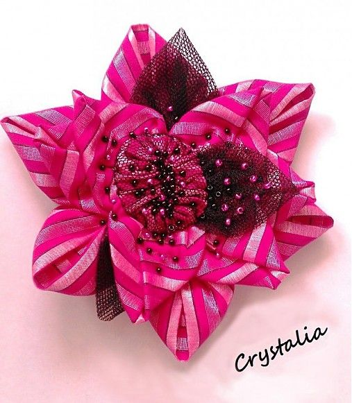 crystalia / Pink Passion Flower ... hanmade fabric brooch