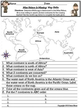 Free map skills worksheets for middle school