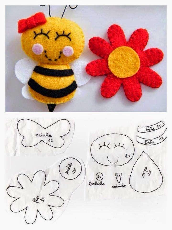 !!!!♥ Feltro-Aholic Moldes e tutoriais em feltro: Molde abelhinha de feltro linda e delicada