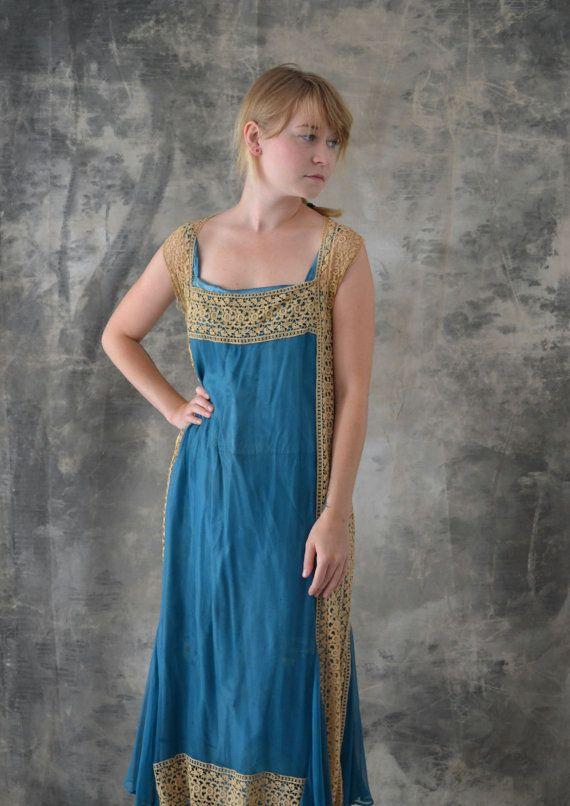 Edwardian dentelle et soie robe bleu Aqua par Petrune sur Etsy