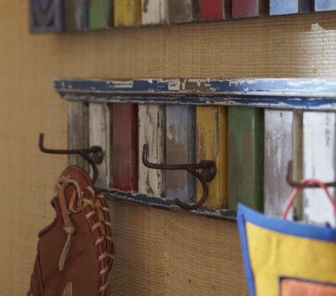 Hook rack for coats, baseball glove, etc in nursery #potterybarnkids