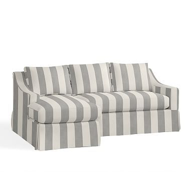 York Slope Arm Right Sofa With Chaise Sectional Slipcover, Premium  Performance Awning Stripe Light Gray