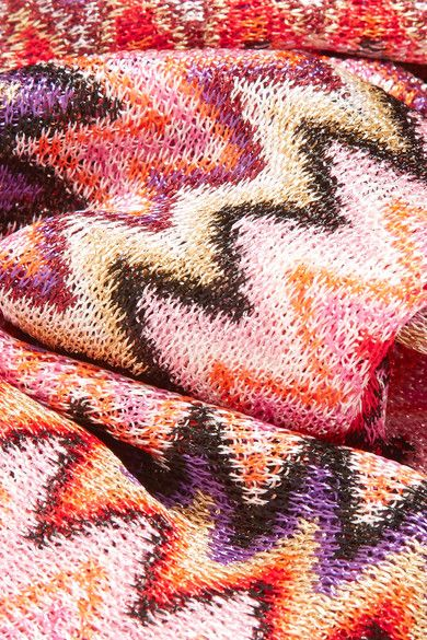 Missoni - Fringed Crochet-knit Scarf - Pink - one size