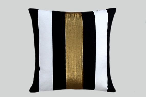 "black white and gold  living rooms | Cotton Black White Throw pillow case with gold color accent, 16""x16 ..."