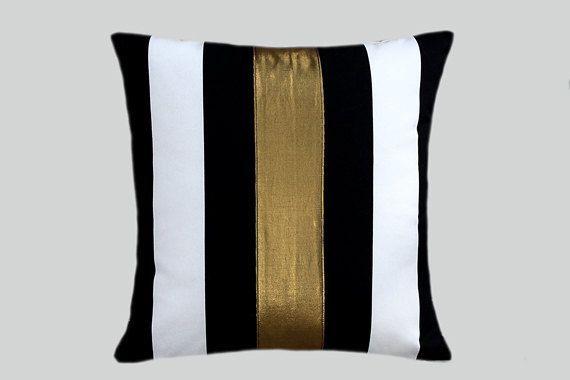 Black White And Gold Throw Pillows : Cotton Black-White Throw pillow case with gold color accent, 16
