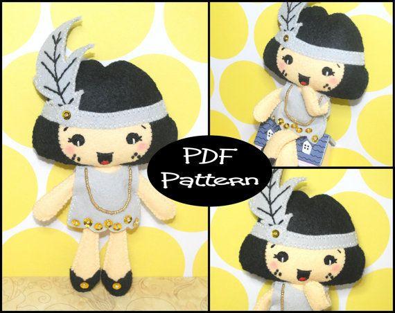 PDF Pattern  Flapper Girl Felt Doll Pattern  by EmmaIrlamCrafts