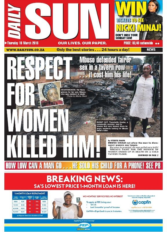 """Respect for women killed him!"" - Daily Sun - iSERVICE Polit"
