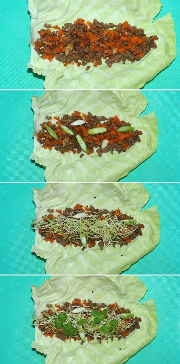 Skønne sprøde kålwraps med krydret oksekød og friske grøntsager.