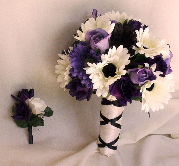 black and ivory wedding bouquets   Wedding Flowers Black Ivory Bridal Party Flower Package Bouquets ...