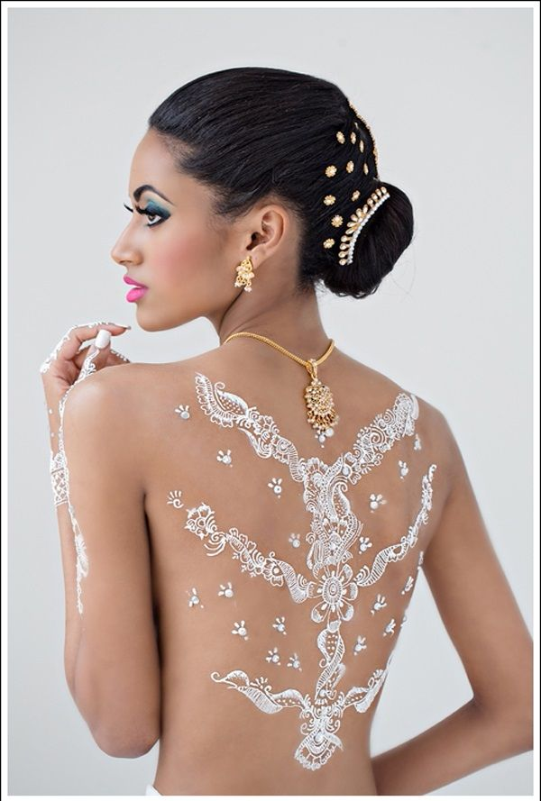 I think I would like some henna on my side when I get married. Beautiful White Henna Designs