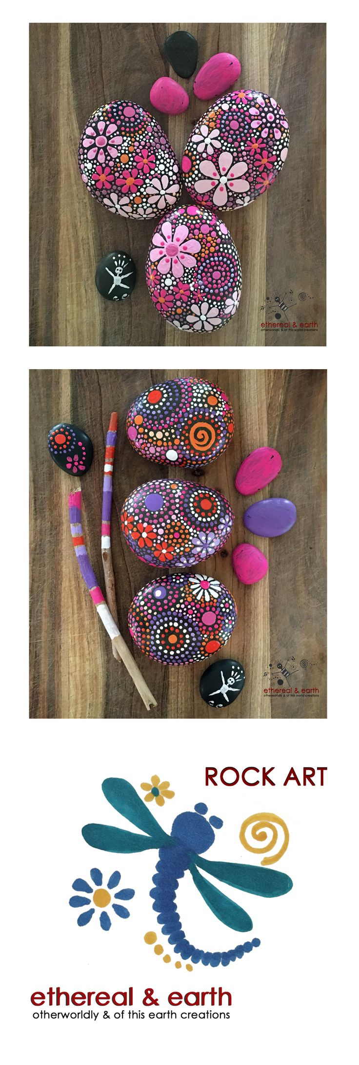 Rock Art ! Hand Painted River Rock - Pink & Purple Stones - Mandala Inspired Design - Free US Shipping - ethereal & earth