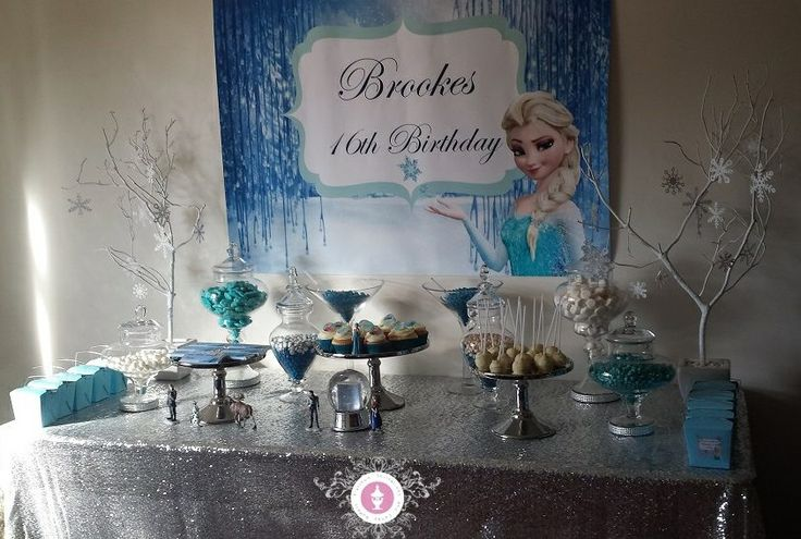 Brooke's 16th Frozen Candy Buffet By Platinum Invitations & Candy Buffets