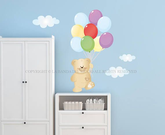 Wall Decals Kids Wall Stickers Baby Nursery Room Decor Teddy Bear With  Balloons