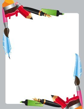 Great for artists, the corners of this printable writing border are crammed with writing utensils like markers, pens, pencils and paintbrushes. Free to download and print.
