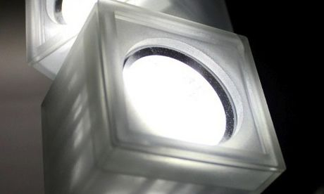 The Eco-light consists of a series of cubes made from recycled PET, the plastic used for bottled water and soft drinks.