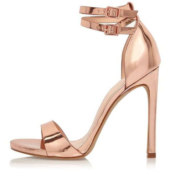 River Island Rose gold tone double strap heels ($100) ❤ liked on Polyvore featuring shoes, pumps, heels, sandals, gold open toe shoes, high heel ankle strap shoes, gold ankle strap shoes, ankle wrap shoes and rosette shoes