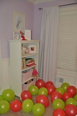 Elf on Shelf blows up & fills child room with balloons.... For Lil Diva's birthday the 18th!!