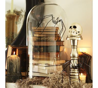 "Books under a cloche. This would be a sweet addition to our annual ""creepy author"" display!"