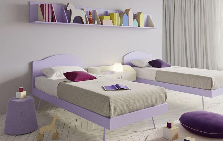 Pitagora wall unit in mirtillo and bianco finishes. #nidi #nididesign #kids #hanging #kidsroom #room #fun #colors #furniture #design