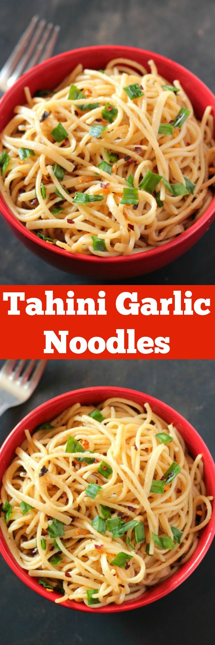 Tahini Garlic Noodles - on the table in 15 minutes