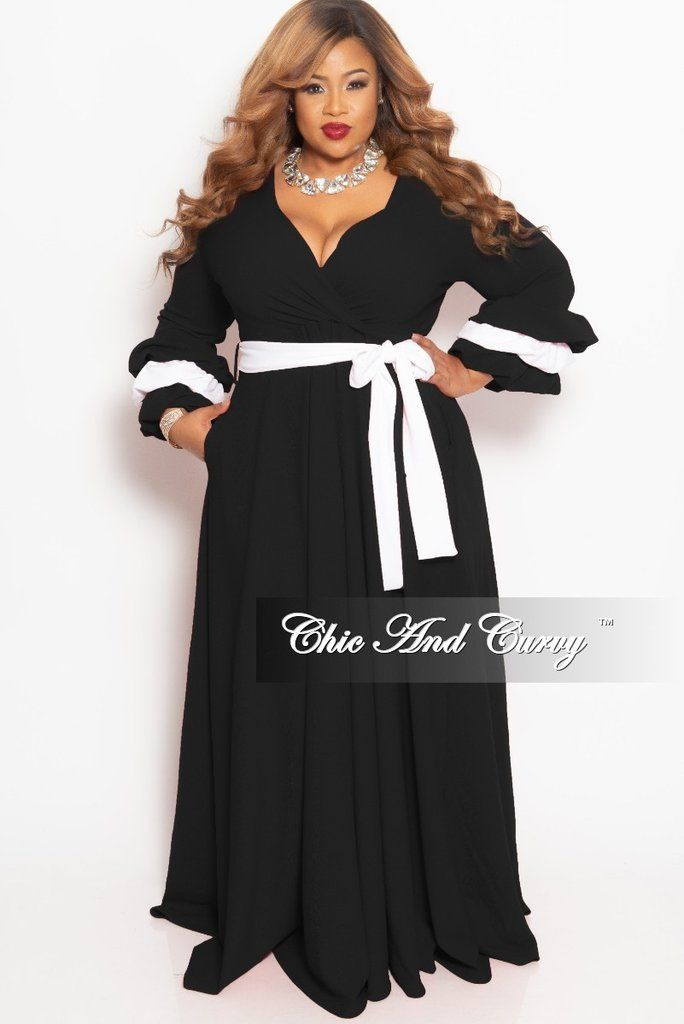 ddc3035c3c7dae New Plus Size Faux Wrap Long Pocket Dress with Attached Tie and Puffy  Sleeves in Black with White Trim in 2019 | Dream Wardrobe | Dresses, Chic,  curvy, ...