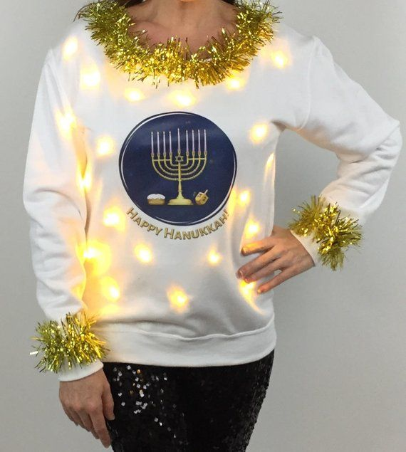 Happy Hanukkah Womens Sweater Light Up Menorah Sweater With Lights