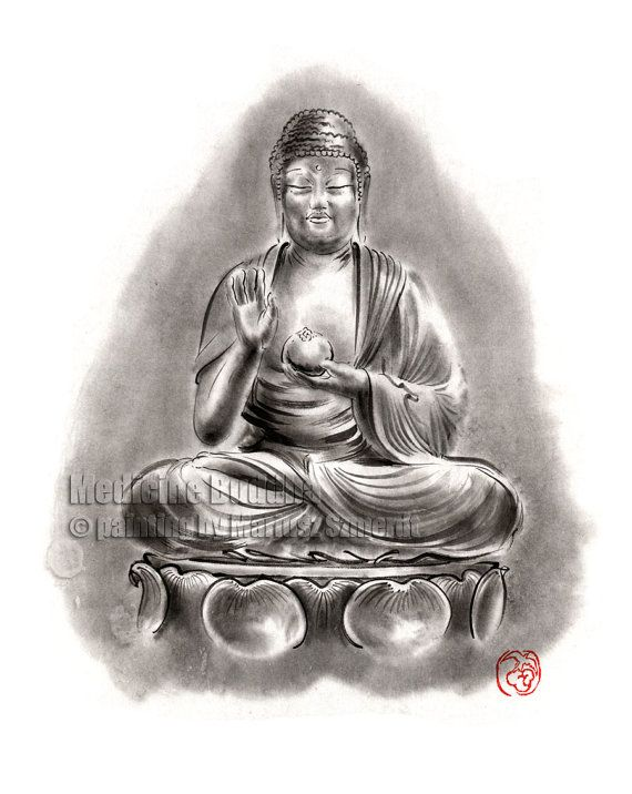 Medicine Buddha Mind Meditation Zen Japanese Chinese kanji calligraphy symbol characters GICLEE fine art print of watercolor ink PAINTING
