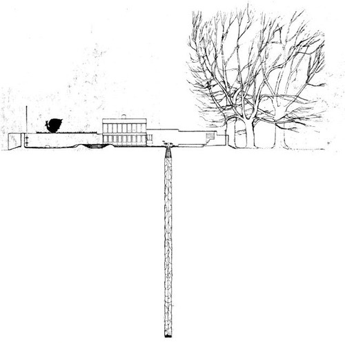 """""""The territory is needed to keep the pavilion as an idyll."""" Alison Smithson.  UPPER LAWN, Alison & Peter Smithson. Fonthill, Wiltshire, UK. 1961-1963."""