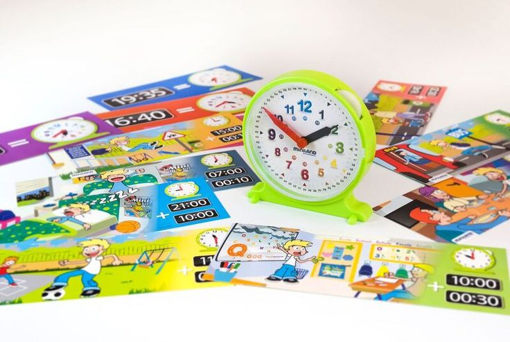 Miniland Aptitude Activity Clock  helps to illustrate the evolution of time. The clock has a transparent face with easy-to-read numbers and coloured hands activated by a wheel at the top of the clock. The set comes with 12 colour activity cards which relate to daily activities to help the child learn. Suitable for 3 to 6 year olds.