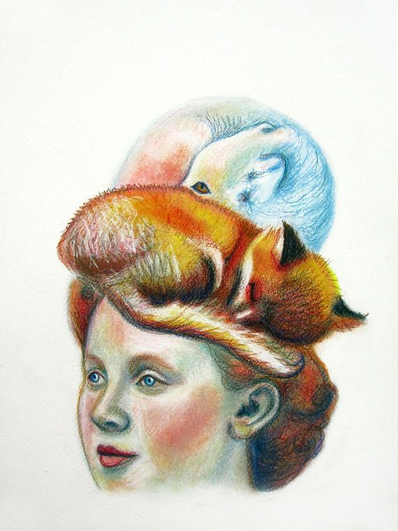 Lady with Fox on her head. Vintage look. Pastel Drawing. Commission portrait.