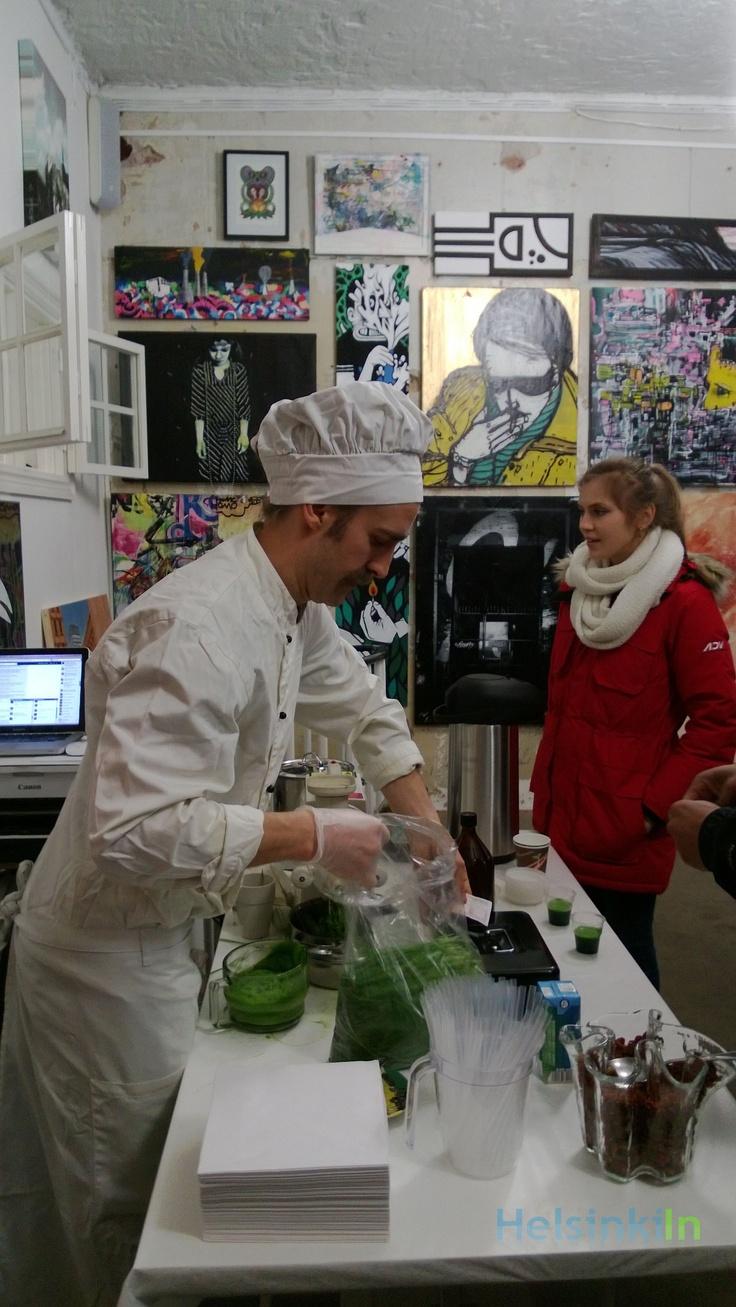 An art gallery in Punavuori turned into Potjack Juice Bar.