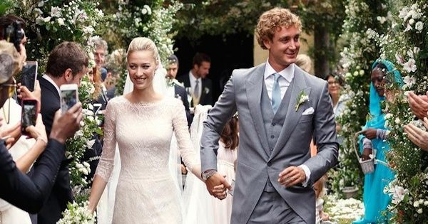 August 1, 2015 -  Beatrice Borromeo married Pierre Casiraghi, the son of Monaco's Princess Caroline and grandson of Grace Kelly, in an ethereal, white dress, custom made from Georgio Armani Privé,