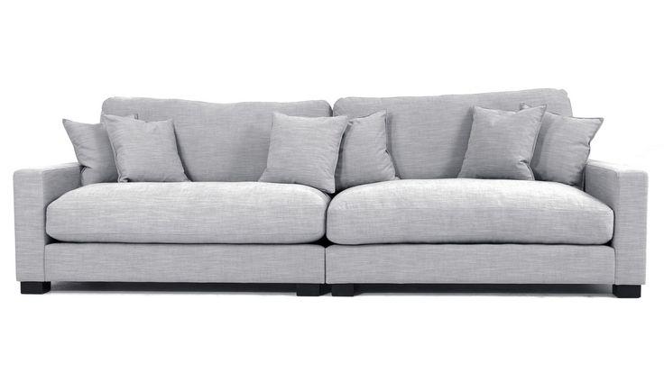 Grå Valen XL soffa. Djup, låg, dun, linne, grå, möbler, inredning, vardagsrum, rymlig, stor.