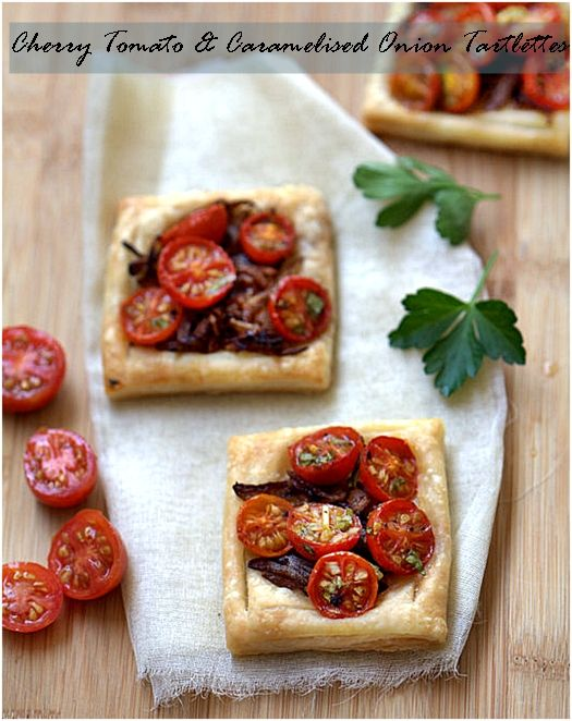 Cherry Tomato & Caramelised Onion Tartlettes. The flavours were outstanding. Sweet caramelised onions, tart sweet cherry tomatoes, fresh basil, sea salt, the kick of vinegar...and of course garlic!