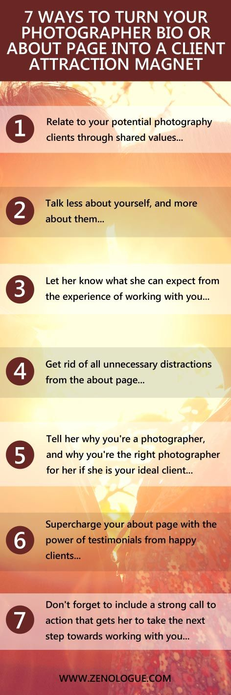 "If you feel like your website visitors aren't really engaged with who you really are and why you do what you do, then it's time to look at your ""about me"" page and photographer bio. A really great ""about"" page will attract more photography clients as long as you use these 7 tips on how to create an about page that works hard to connect with your prospects... #photography #business #marketing"