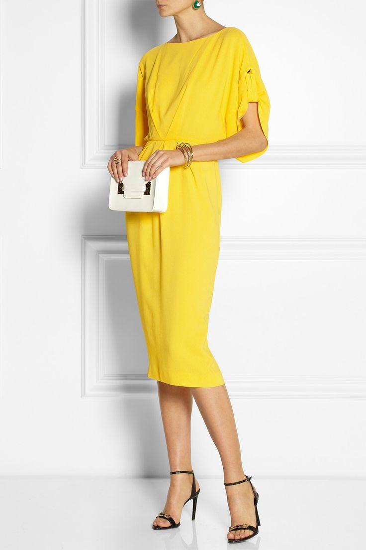 Vionnet|Stretch-crepe dress|Proenza Schouler | Metallic leather sandals | Sophie Hulme | Envelope mini leather shoulder bag