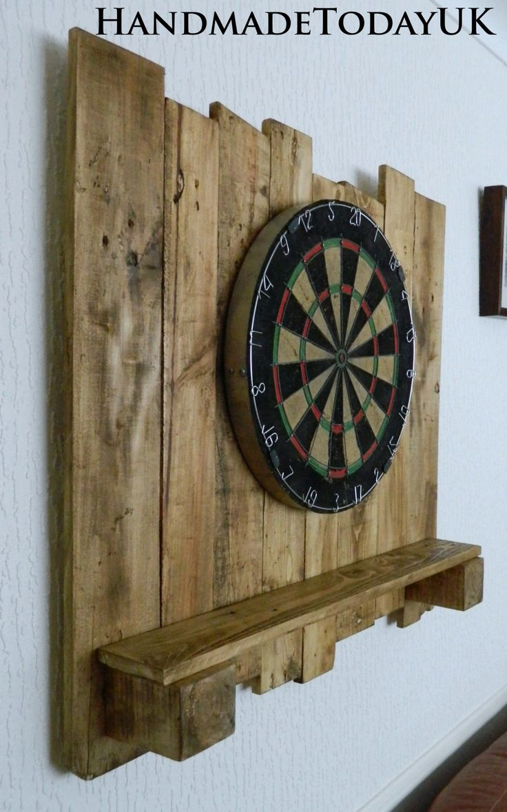 Handmade Rustic Driftwood Dartboard Backboard with built in Shelf made from Recycled Pallet Wood by HandmadeTodayUK on Etsy
