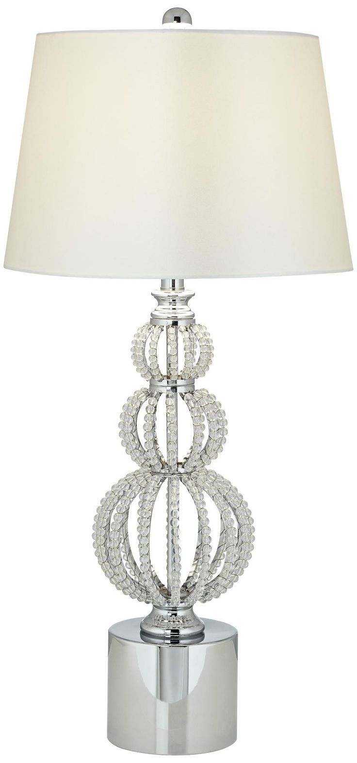 Beaded Stacked Spheres Chrome With White Crystal Table Lamp