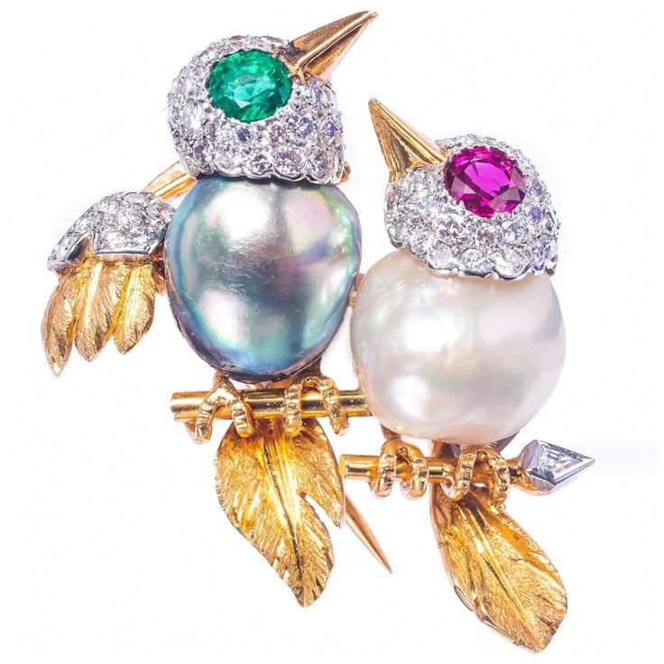 Cartier Paris Charming Diamond Pearl  Love Birds On Branch Pin | From a unique collection of vintage brooches at https://www.1stdibs.com/jewelry/brooches/brooches/