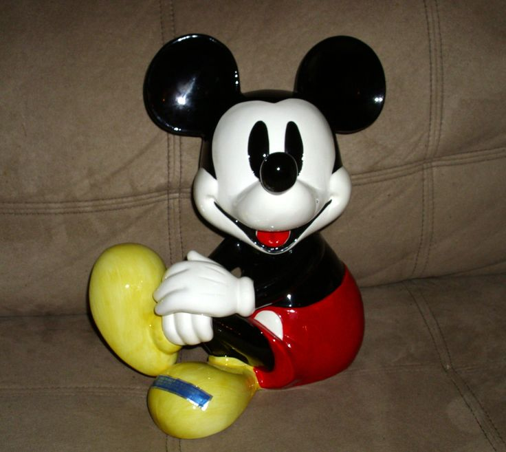 Schmid Mickey Mouse Porcelain Figure Music Box. He plays the Mickey Mouse Club March! by GraysideCottage on Etsy