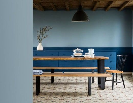 Bleugris denimdrift final ddining lightblue dulux valentine mur bleu blue living blue living room