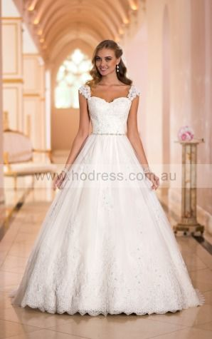 Ball Gown Sweetheart Natural Cap Sleeves Floor-length Wedding Dresses wes0084--Hodress